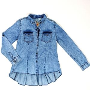 Nostalgia Chambray Denim Floral Embroidered Top S